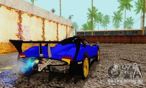 Pagani Zonda Type R Blue для GTA San Andreas вид сзади слева