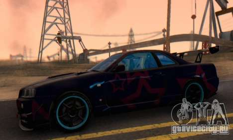 Nissan Skyline GTR 34 Blue Star для GTA San Andreas вид сзади