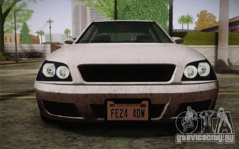 Sultan из GTA 5 для GTA San Andreas вид изнутри