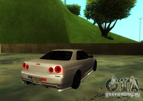 Nissan Skyline R34 V-Spec для GTA San Andreas вид слева