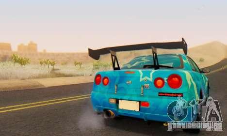 Nissan Skyline GTR 34 Blue Star для GTA San Andreas вид сверху