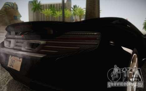 McLaren 650S Spider 2014 для GTA San Andreas вид изнутри