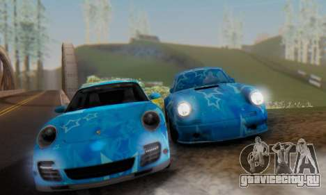 Porsche 911 Turbo Blue Star для GTA San Andreas вид справа