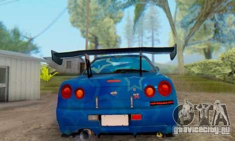 Nissan Skyline GTR 34 Blue Star для GTA San Andreas вид сзади слева