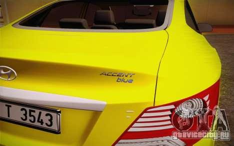 Hyundai Accent Taxi 2013 для GTA San Andreas вид справа