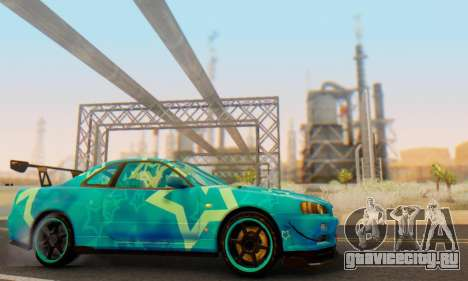Nissan Skyline GTR 34 Blue Star для GTA San Andreas вид сбоку