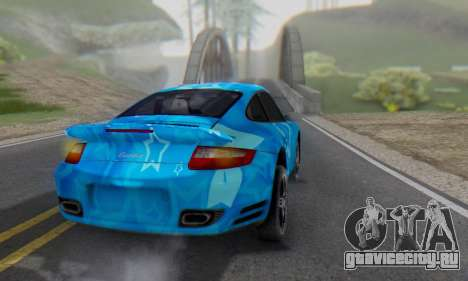 Porsche 911 Turbo Blue Star для GTA San Andreas вид сзади слева