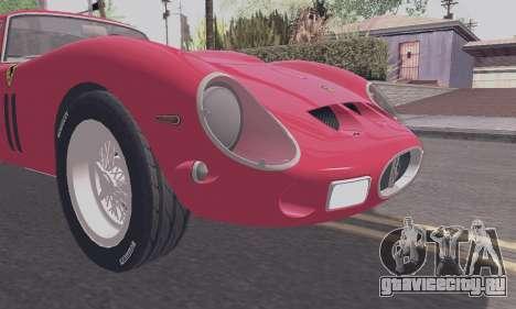 Ferrari 250 GTO 1962 для GTA San Andreas вид изнутри