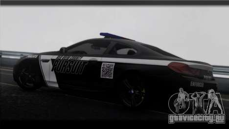 BMW M6 Coupe Redview Police для GTA San Andreas вид слева