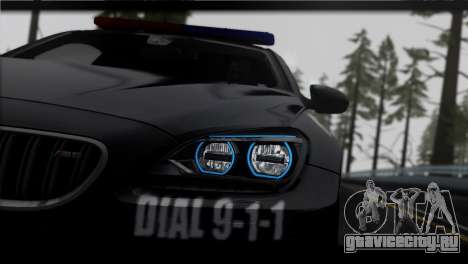 BMW M6 Coupe Redview Police для GTA San Andreas вид сзади слева