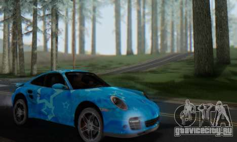 Porsche 911 Turbo Blue Star для GTA San Andreas вид изнутри