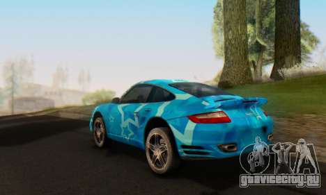 Porsche 911 Turbo Blue Star для GTA San Andreas вид сзади