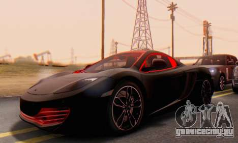 Mclaren MP4-12C Spider Sonic Blum для GTA San Andreas вид изнутри