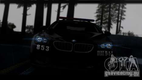 BMW M6 Coupe Redview Police для GTA San Andreas вид сзади