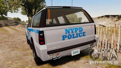 GTA V Declasse Granger NYPD для GTA 4 вид сзади слева