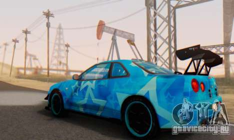 Nissan Skyline GTR 34 Blue Star для GTA San Andreas вид снизу