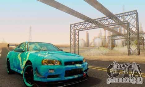 Nissan Skyline GTR 34 Blue Star для GTA San Andreas вид изнутри