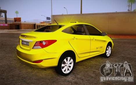 Hyundai Accent Taxi 2013 для GTA San Andreas вид слева