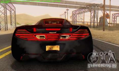 Mclaren MP4-12C Spider Sonic Blum для GTA San Andreas вид справа