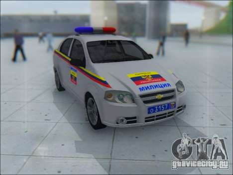Chevrolet Aveo Милиция OНР для GTA San Andreas салон