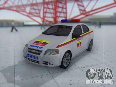 Chevrolet Aveo Милиция OНР для GTA San Andreas вид сверху