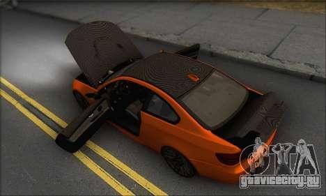 BMW M3 E92 Soft Tuning для GTA San Andreas вид снизу