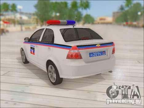 Chevrolet Aveo Милиция ДНР для GTA San Andreas вид сзади слева