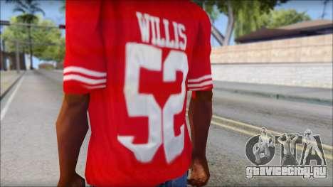 San Francisco 69ers 52 Willis Red T-Shirt для GTA San Andreas третий скриншот