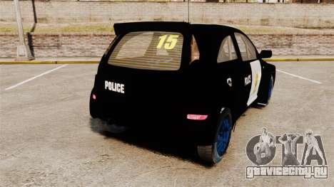 Opel Corsa Police для GTA 4 вид сзади слева