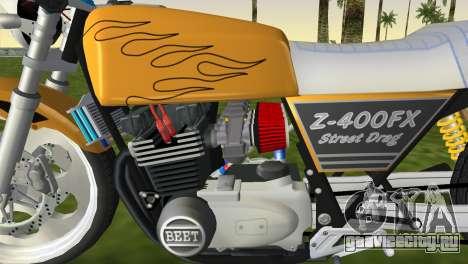 Kawasaki Z400FX Street Drag Racer для GTA Vice City вид сзади слева