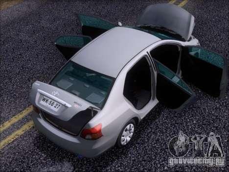 Toyota Yaris 2008 Sedan для GTA San Andreas вид снизу