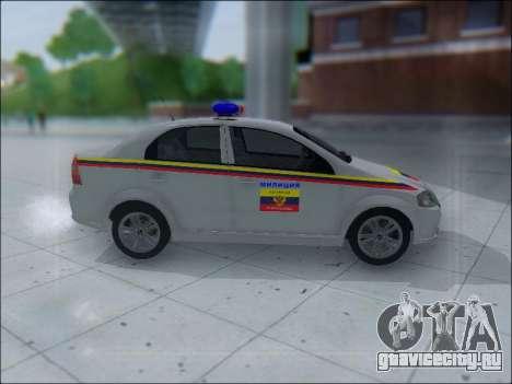 Chevrolet Aveo Милиция OНР для GTA San Andreas вид сзади слева