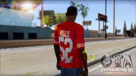 San Francisco 69ers 52 Willis Red T-Shirt для GTA San Andreas второй скриншот