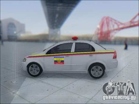 Chevrolet Aveo Милиция OНР для GTA San Andreas вид сбоку