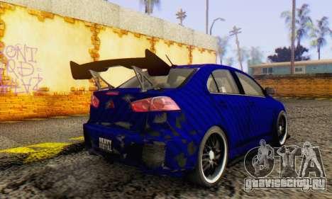 Mitsubishi Lancer EVO X Carbon Coloured для GTA San Andreas вид справа