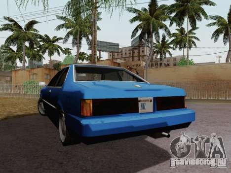 Sentinel Coupe для GTA San Andreas вид сзади слева