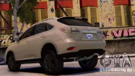 Lexus RX450H 2010 v1 для GTA 4 вид слева