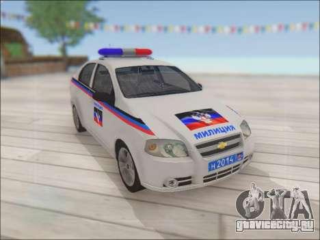 Chevrolet Aveo Милиция ДНР для GTA San Andreas вид изнутри