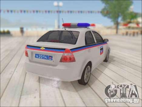 Chevrolet Aveo Милиция ДНР для GTA San Andreas вид сзади