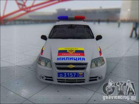 Chevrolet Aveo Милиция OНР для GTA San Andreas вид слева