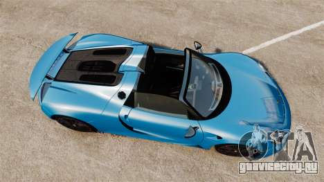 Porsche 918 2013 для GTA 4 вид справа