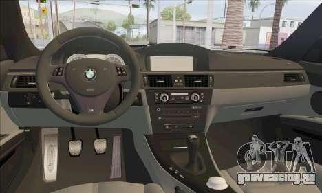 BMW M3 E92 Soft Tuning для GTA San Andreas вид изнутри