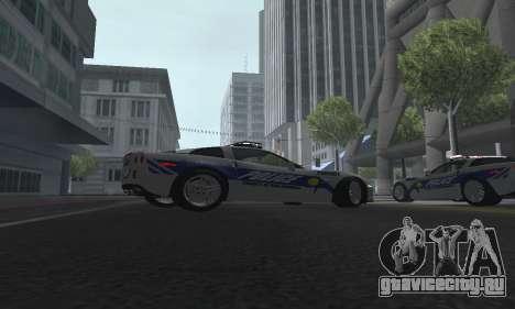 Chevrolet Corvette Z06 Police для GTA San Andreas вид справа