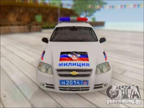 Chevrolet Aveo Милиция ДНР для GTA San Andreas вид сбоку