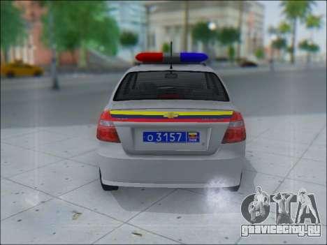 Chevrolet Aveo Милиция OНР для GTA San Andreas вид сзади