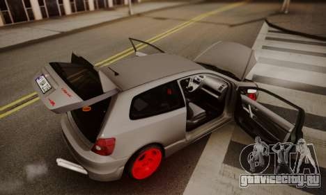 Honda Civic TypeR для GTA San Andreas вид изнутри