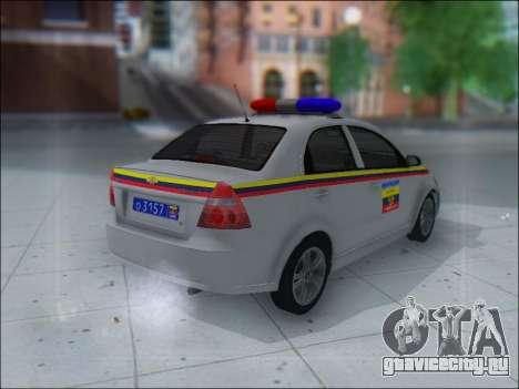 Chevrolet Aveo Милиция OНР для GTA San Andreas вид справа