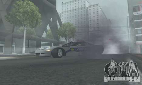 Chevrolet Corvette Z06 Police для GTA San Andreas вид сзади слева