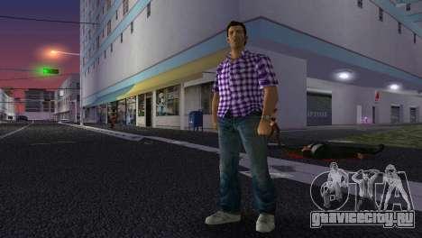 Kockas polo - lila T-Shirt для GTA Vice City четвёртый скриншот