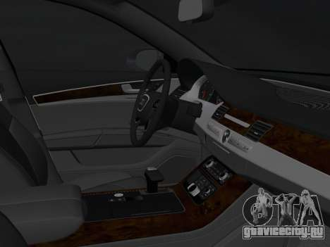 Audi A8 2010 W12 Rim1 для GTA Vice City вид изнутри